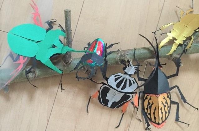 昆虫,切り絵,小学生,作品例